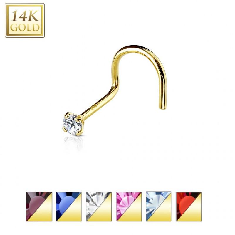 piercing narine or jaune 14 carat pour femme cristal