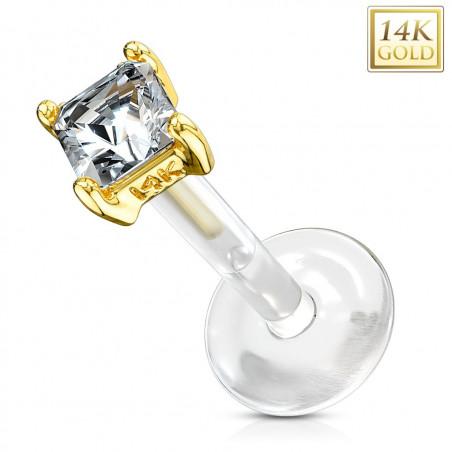 Piercing Labret Or tige Bioflex cristal blanc 2 mm