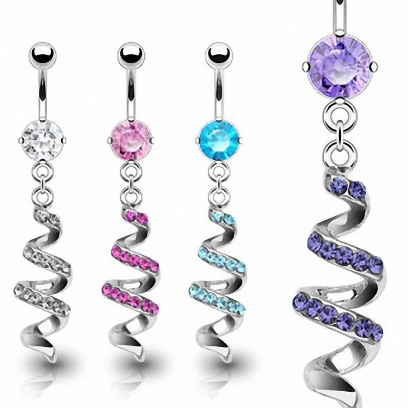 Piercing nombril acier chirurgical pendentif serpentin cascade cristal
