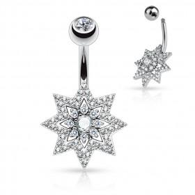 Piercing nombril Etoile multi cristaux