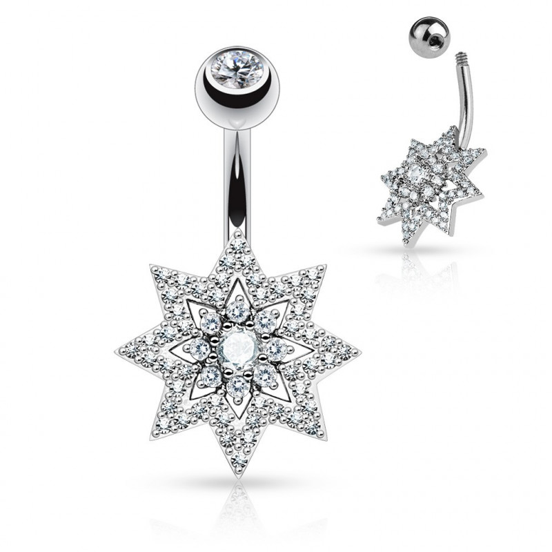 Piercing nombril Etoile multi cristaux