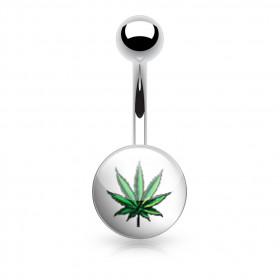Piercing nombril feuille de cannabis