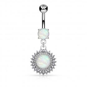 Piercing Nombril Soleil Opale et cristal