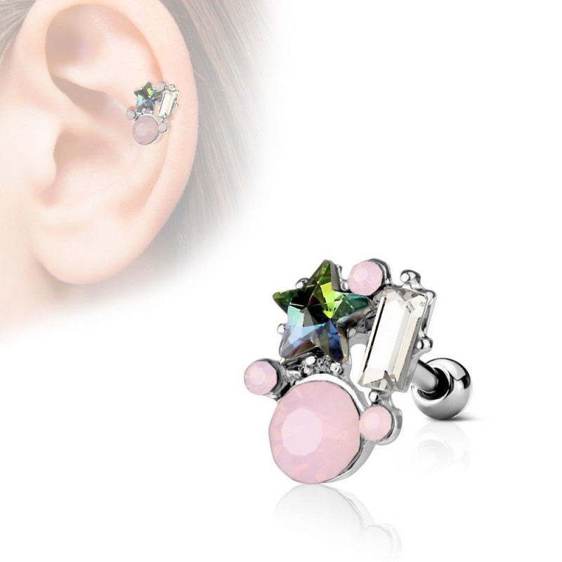 Piercing cartilage oreille multi bijoux