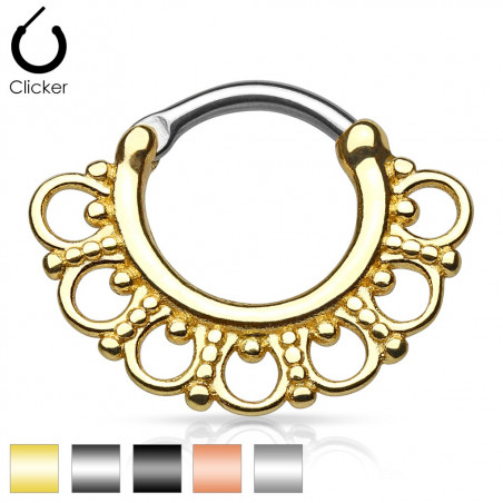 Piercing septum motif tribal