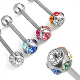 Piercing langue acier chirurgical multi cristaux