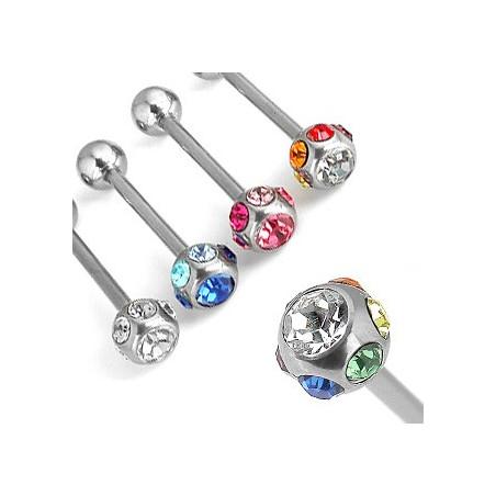 Piercing langue acier multi cristaux