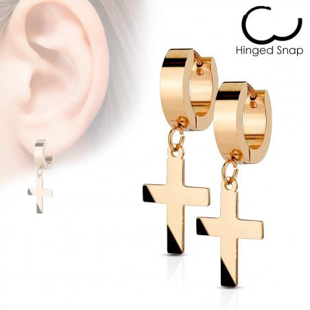 Boucles d'oreilles croix acier or rose