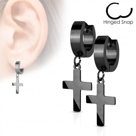 Boucles d'oreilles croix acier Noir