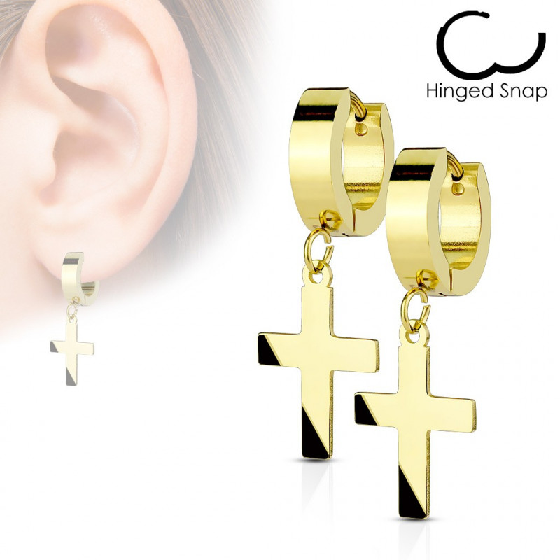 Boucles d'oreilles croix acier doré