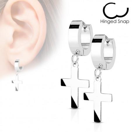 Paire de boucles d'oreille croix en acier inoxydable