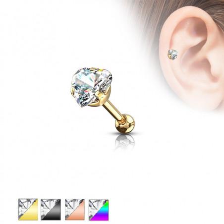 Piercing oreille acier couleur coeur strass