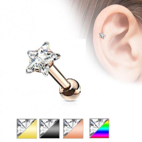 Piercing oreille acier couleur étoile strass