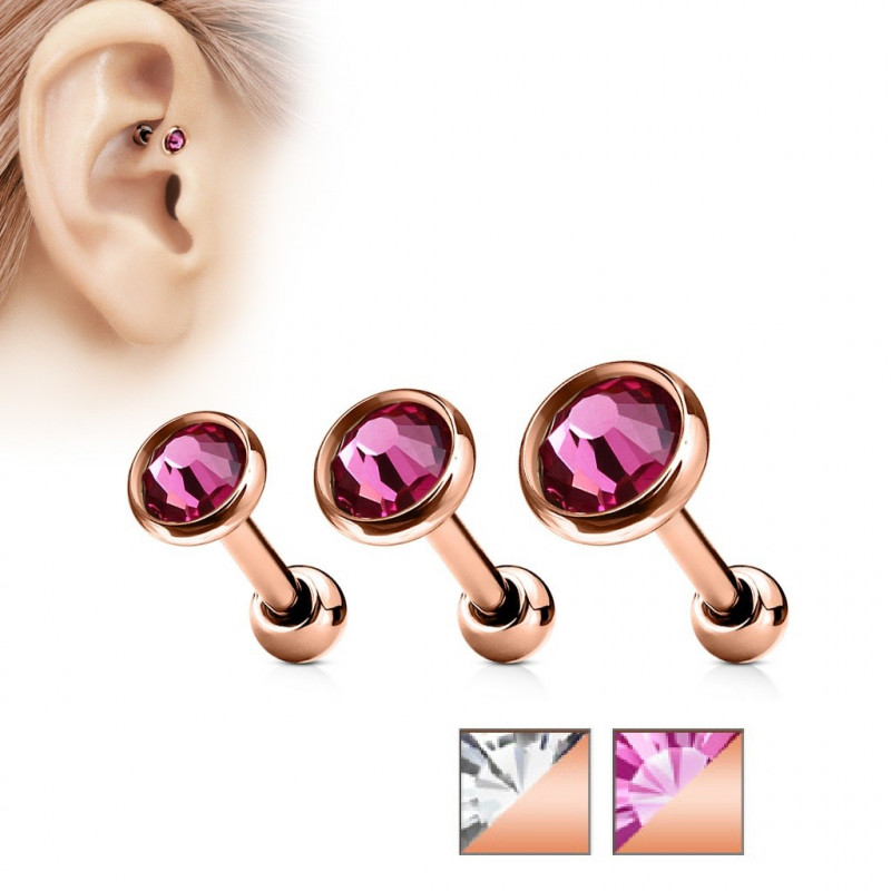 Piercing oreille or rose cristal rond