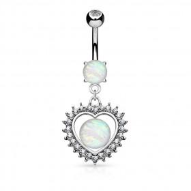 Piercing nombril coeur opale multi cristaux