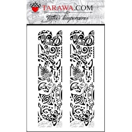 Tattoos temporaires 2 bracelets Maori Polynesiens