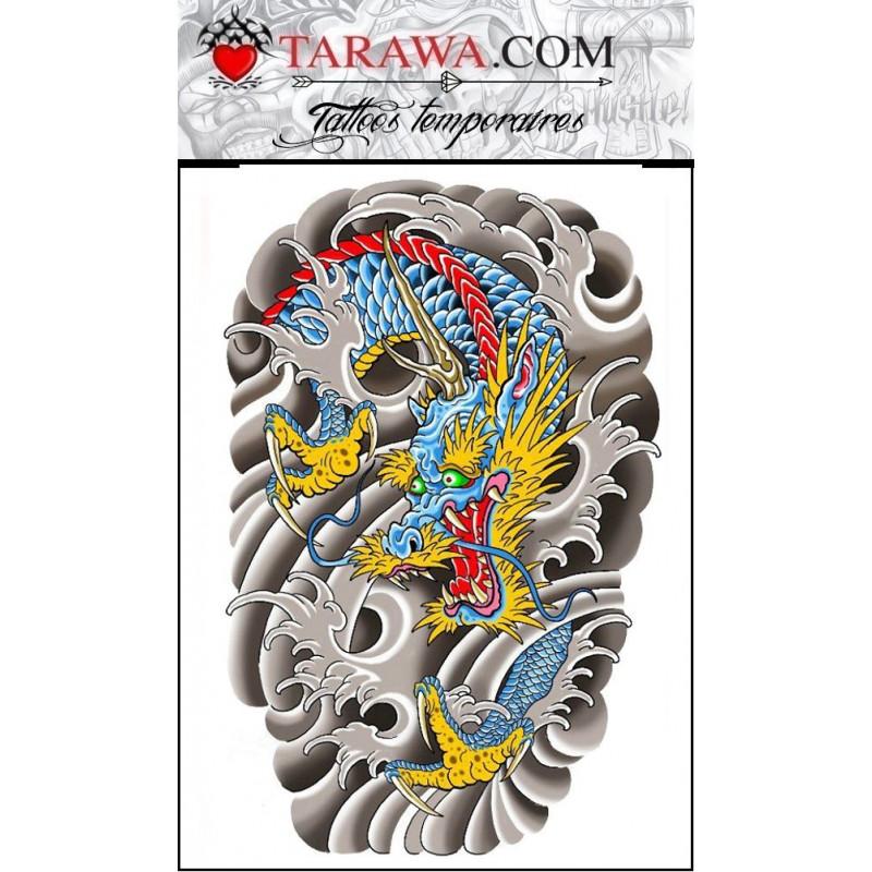 Tatouage dragon japonais grand format