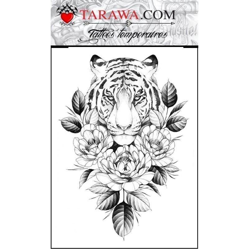 Tattoo tête de tigre pivoine