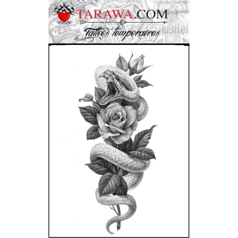 Tatouage temporaire serpent avec rose
