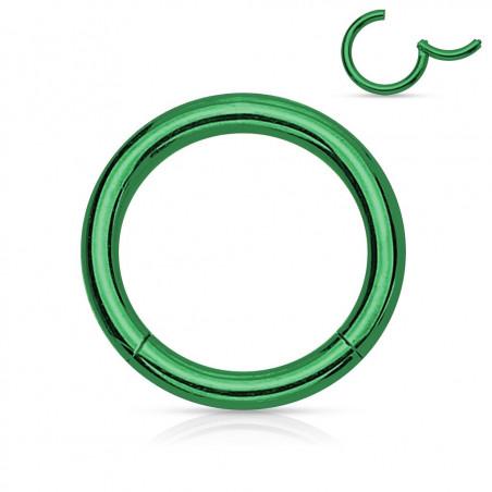 Piercing anneau clipper vert 1,6 mm