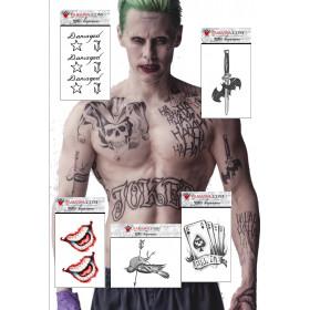 Pack Tatouage éphémère le Joker Suicide Squad pack de 5 tattoo décalcomanie au format A6