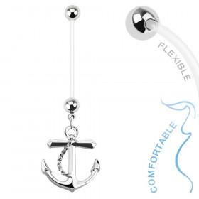 Piercing nombril grossesse ancre marine