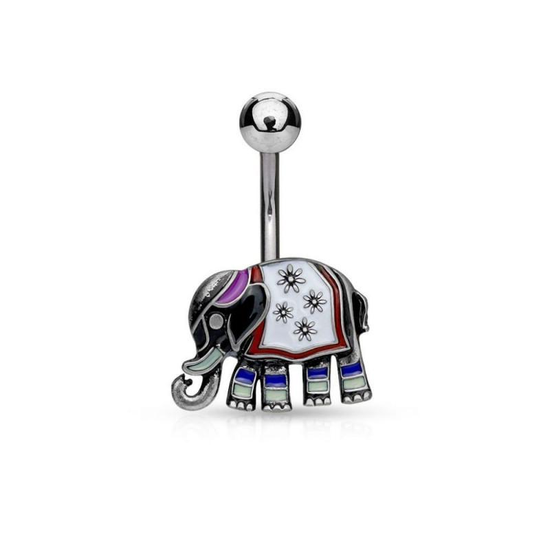 Piercing nombril éléphant coloré antique