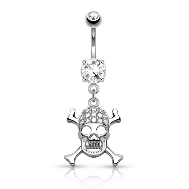 piercing nombril skull os en croix