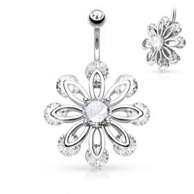 Piercing nombril fleur zirconium rond