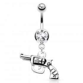 Piercing nombril pendentif revolver