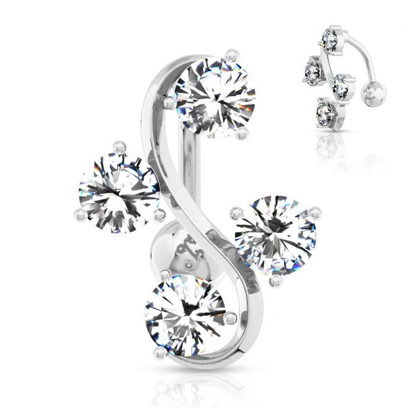 Piercing nombril inversé quatre cristaux blanc