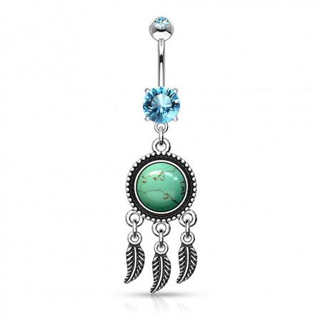 piercing nombril turquoise attrape rêves