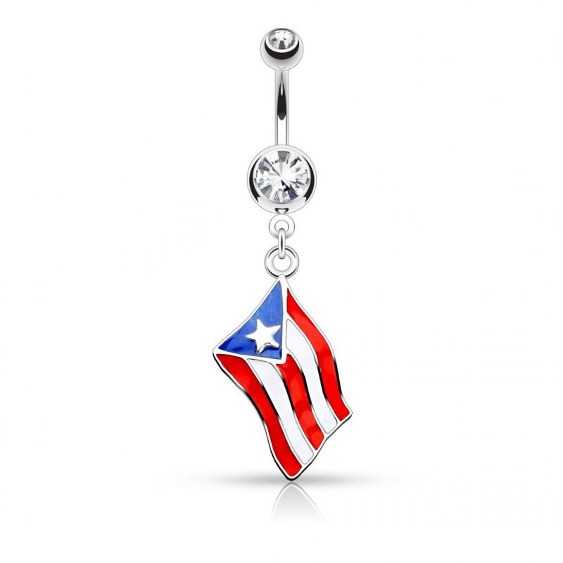 Piercing nombril drapeau de Porto Rico