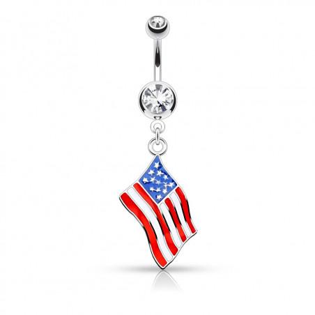 Piercing nombril drapeau des Etats Unis