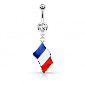 Piercing nombril drapeau de la France