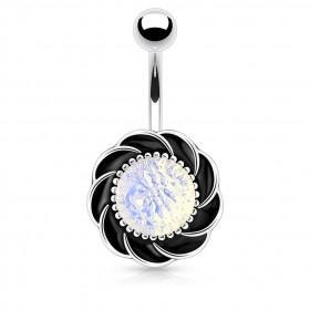 Piercing nombril tourbillon pierre Opale synthétique