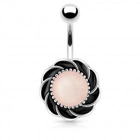 Piercing nombril tourbillon pierre Quartz Rose synthétique
