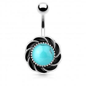 Piercing nombril tourbillon pierre Turquoise synthétique