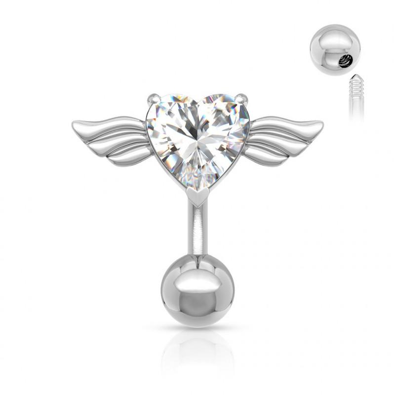Piercing nombril aile d'Ange inversé coeur blanc