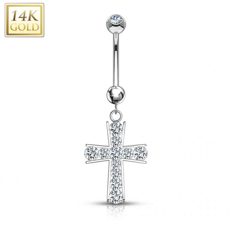 Piercing nombril croix or Blanc 14 carat