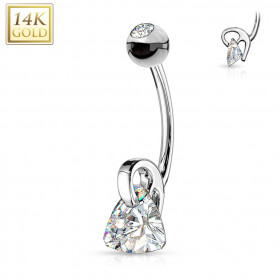 Piercing nombril or blanc cristal triangle