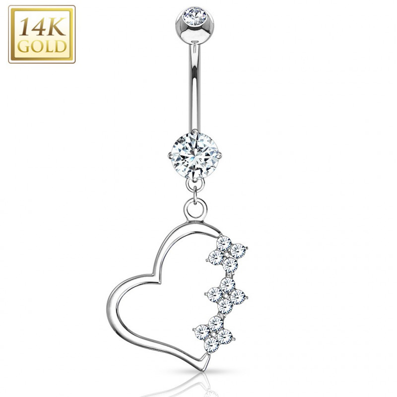 Piercing nombril Coeur pendant or blanc
