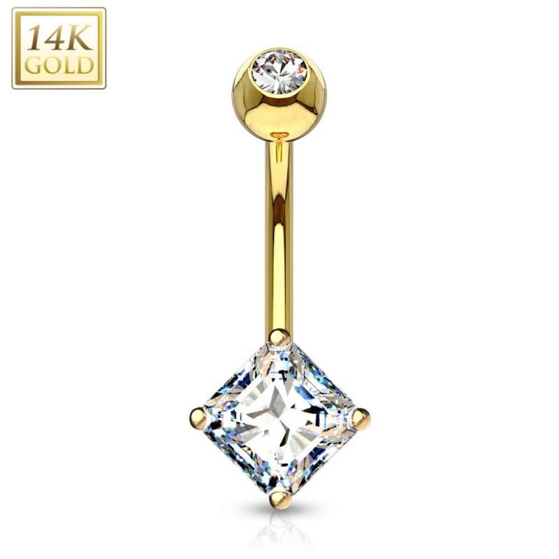 piercing nombril luxe en or cristal carré