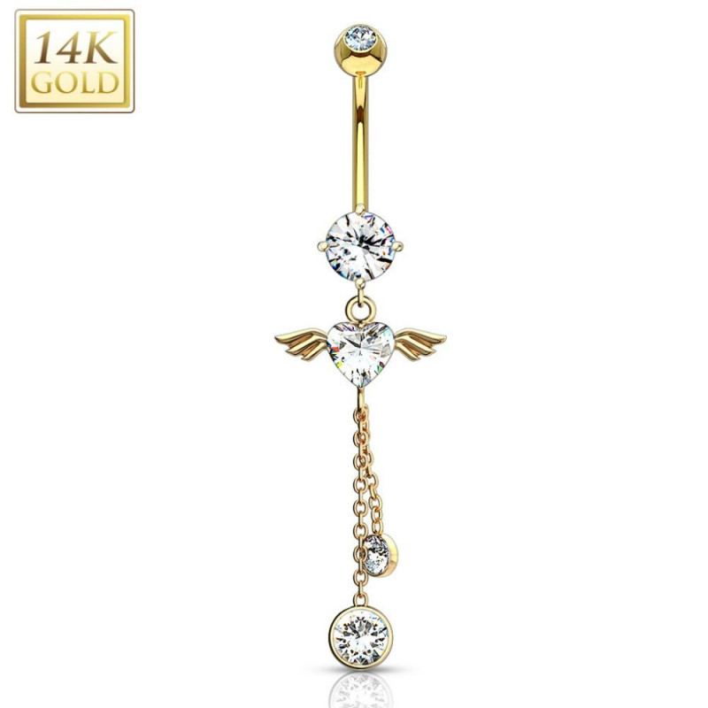Piercing au nombril coeur or jaune 14 carats