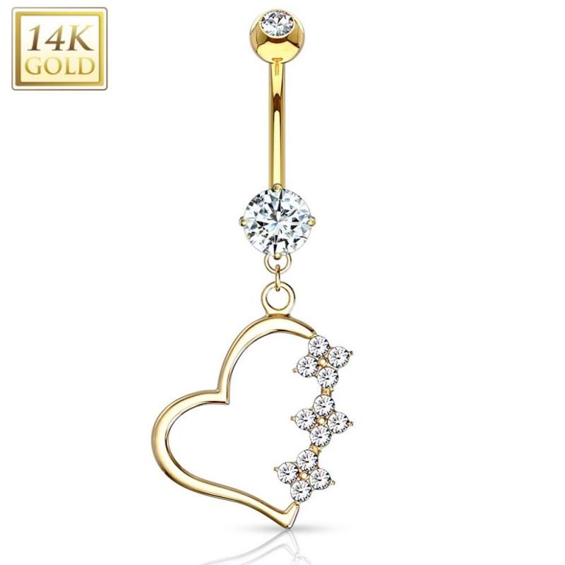 Piercing nombril coeur or jaune 14 carats pour femme