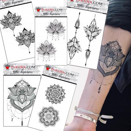 Pack Tatouage éphémère Mandala format A6 cinq planches
