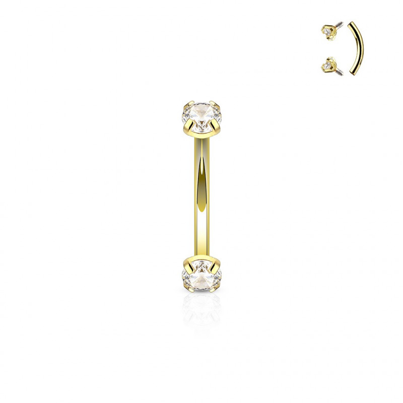 Piercing arcade anodisé acier doré oxyde de ziconium