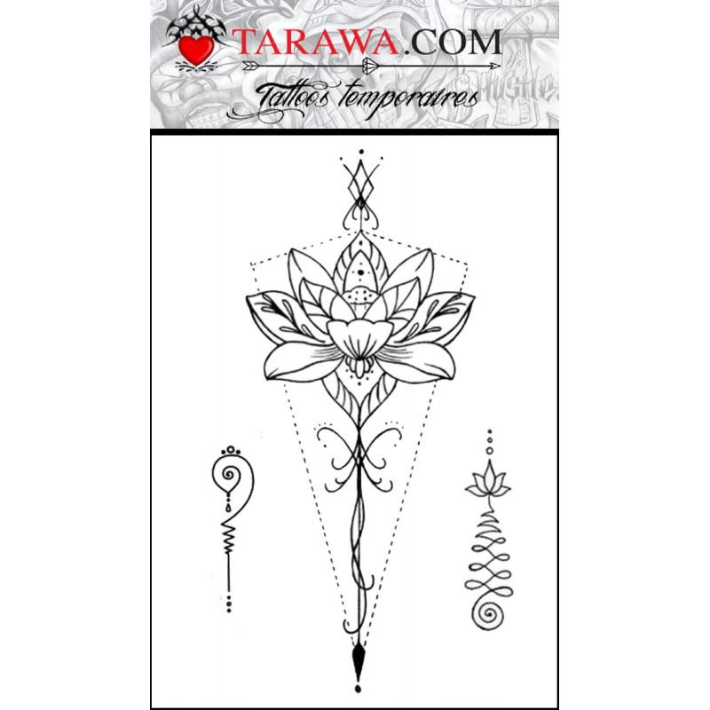 Tatouage éphémère lotus géométrique mandala