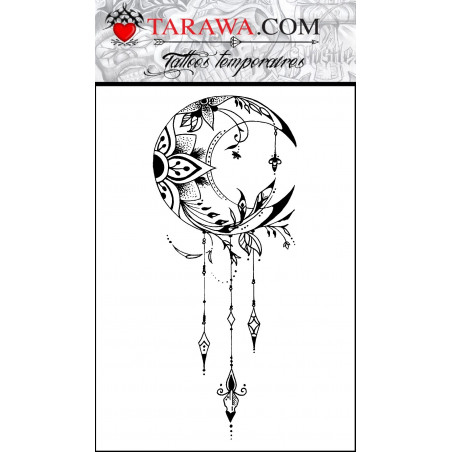 Faux tatouage lune mandala format A6