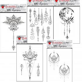 Pack Tatouage temporaire Mandala format A6 cinq planches